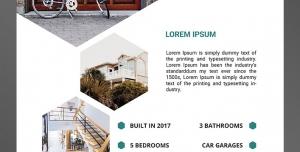 طرح آماده لایه باز پوستر یا تراکت مشاور املاک با محوریت تصویر نمای بیرون نمای درب خانه به صورت بزرگ یک نما از داخل خانه