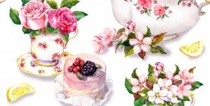 عکس با کیفیت تبلیغاتی ست قوری و فنجان گل سرخ به روی میز تزئین شده با گل و کاپ کیک