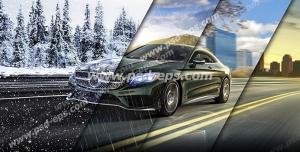 عکس با کیفیت تبلیغاتی ماشین در جاده در حال گذر از فصل ها