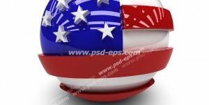 عکس با کیفیت تبلیغاتی پرچم برجسته آمریکا حک شده به روی گوی