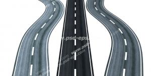عکس با کیفیت تبلیغات یک جاده ی صاف در بین دو جاده ی پیچ دار