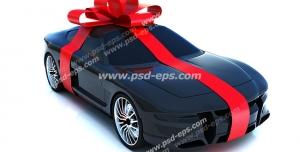 عکس با کیفیت ماشین زیبا و مدرن جایزه مسابقه با روبان قرمز رنگ پیچیده شده