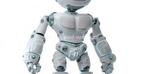 عکس با کیفیت تبلیغاتی ربات با ال ای دی های فیروزه ای