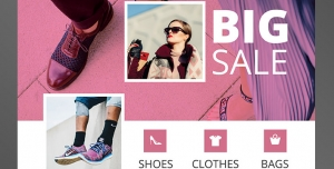 طرح آماده لایه باز پوستر یا تراکت فروشگاه کیف کفش مزون لباس اکسسوری زنانه با محوریت تصویر سه عکس روی عکس بزرگ تر از کیف کلاه شال گردن خانم زیبا