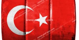 عکس با کیفیت تبلیغاتی پرچم ترکیه حک شده رو بشکه فلزی