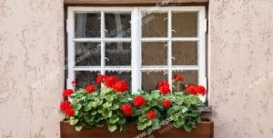 عکس با کیفیت تبلیغاتی پنجره زیبا تزئین شده با گلدان چوبی