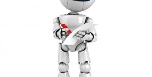 عکس با کیفیت تبلیغاتی ربات در حال یادداشت روی کاغذ