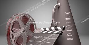 عکس با کیفیت تبلیغات مگافون در کنار رول فیلم و کلاکت