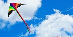 عکس با کیفیت تبلیغات بادبادک رنگارنگ در آسمان
