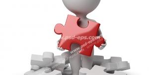 طرح فانتزی نمادین انتخاب و تصمیم گیری با آدمک با تکه های پازل در اطراف آن و انتخاب تکه پازل قرمز
