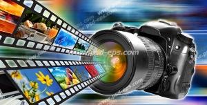 عکس با کیفیت نمادین عکاسی ، تصویربرداری دیجیتال و مفهوم فناوری به اشتراک گذاری تصاویر با تصویر نوار فیلم و عکس خارج شده از دوربین