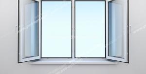 عکس با کیفیت پنجره دو جداره با پنجره باز شده به سمت داخل نصب شده در خانه