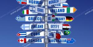 عکس با کیفیت تبلیغات تمام پرچم های دنیا بر روی یک پایه پرچم