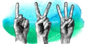 عکس با کیفیت تبلیغاتی سه دست و نشان دادن اعداد یک تا سه