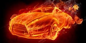 عکس با کیفیت تبلیغاتی خودرو از جنس آتش با سرعت نور