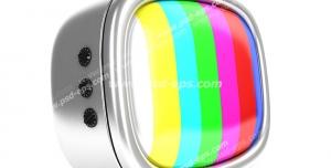 عکس با کیفیت تبلیغاتی تلویزیون سیاه و سفید قدیمی به رنگ نقره ای که در صفحه آن سیگنال موجود نمی باشد