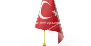 عکس با کیفیت تبلیغاتی پرچم ترکیه کوچک رو میزی با پایه پرچم طلایی