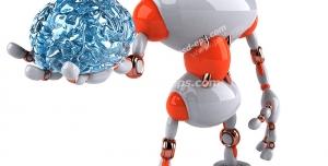 عکس با کیفیت تبلیغاتی ربات با یک مغز آبی در دست