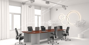عکس با کیفیت تبلیغات اتاق کنفرانس با تم رنگی سفید