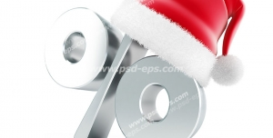 عکس با کیفیت تبلیغاتی سه بعدی نقره ای زیبا از کاراکتر درصد که کلاه بابا نوئل روی آن قرار گرفته