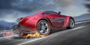 عکس با کیفیت تبلیغاتی خودرو قرمز که زیر چرخ عقب آن آتش گرفته
