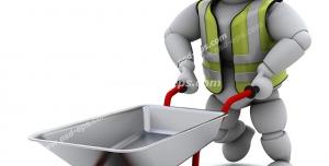 طرح فانتزی نمادین برای شغل کارگر ساختمان با طرح آدمک با لباس شب رنگ ، کلاه ایمنی و فرغون بنایی در دست