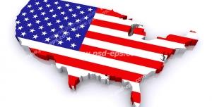 عکس با کیفیت تبلیغاتی پرچم آمریکا که به قالب نقشه آمریکا در آمده