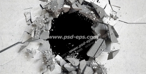 عکس با کیفیت تبلیغاتی دیوار گچی تخریب شده با گوی تخریب