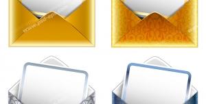 عکس با کیفیت تبلیغات چهار پاکت نامه به رنگ طلایی و آبی