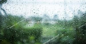 عکس با کیفیت تبلیغات فضای سبز از پشت پنجره باران زده