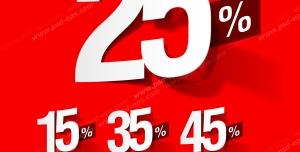 عکس با کیفیت تبلیغاتی سه بعدی اعداد بیست و پنج ، پانزده ، سی و پنج ، چهل و پنج ، پنجاه و پنج ، شصت و پنج ، هفتاد و پنج به رنگ سفید روی پس زمینه قرمز می باشد