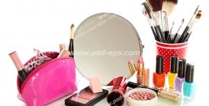 عکس با کیفیت تبلیغاتی آینه بزرگ لاک رژ کیف لوازم آرایش و ظرف با انواع براش