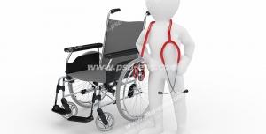 طرح فانتزی شغل پزشک ارتوپدی یا پرستار با گوشی پزشکی (استتوسکوپ) و ایستاده در کنار صندلی چرخ دار