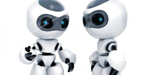 عکس با کیفیت تبلیغاتی دو ربات در حال ارتباط