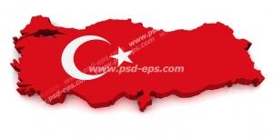 عکس با کیفیت تبلیغاتی پرچم ترکیه که قالب برجسته نقشه کشور ترکیه را گرفته است