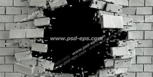 عکس با کیفیت تبلیغاتی دیوار آجری تخریب شده با گوی تخریب