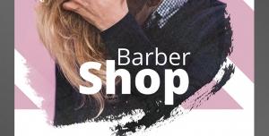 طرح آماده لایه باز پوستر یا تراکت آرایشگاه مردانه با محوریت تصویر فرد با موهای طلایی بلند