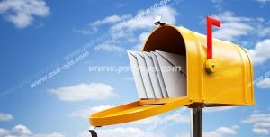 عکس با کیفیت تبلیغات پاکت نامه در صندوق پستی زرد رنگ