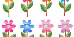 عکس با کیفیت تبلیغات گل های پنج پر رنگارنگ