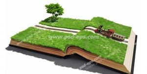 عکس با کیفیت تبلیغاتی قطار در حال حرکت بر روی کتاب سرسبز