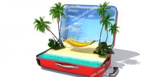 عکس با کیفیت تبلیغاتی تخت ننو و درخت و ساحل داخل چمدان قرمز