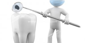 طرح فانتزی نمادین شغل دندانپزشک با آدمک دندانپزشک با آینه کوچک دندانپزشکی در دست در حال معاینه دندان