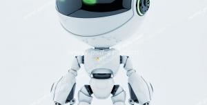 عکس با کیفیت تبلیغاتی ربات در حال نگاه کردن به سمت چپ