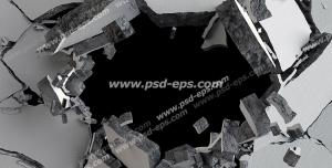 عکس با کیفیت تبلیغاتی دیوار سیمانی تخریب شده با گوی تخریب