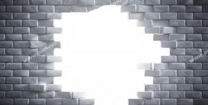 عکس با کیفیت تبلیغاتی دیوار آجری شکسته رو به نور