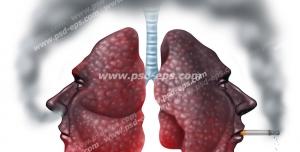 عکس با کیفیت تبلیغات ریه در حال سیگار کشیدن