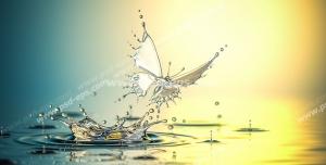 عکس با کیفیت تبلیغاتی پروانه ای جنس آب بیرون آمده از آب دریاچه در حال پرواز به سمت نور