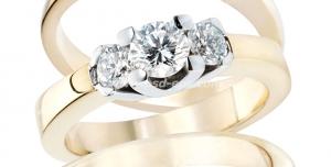 عکس با کیفیت تبلیغاتی سه انگشتر طلا زیبا با سنگ های برلیان