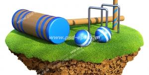 عکس با کیفیت تبلیغاتی دیجیتالی وسایل بازی کروکت روی قطعه جدا شده از زمین چمن