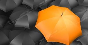 عکس با کیفیت تبلیغاتی چتر نارنجی در بین چتر های مشکی